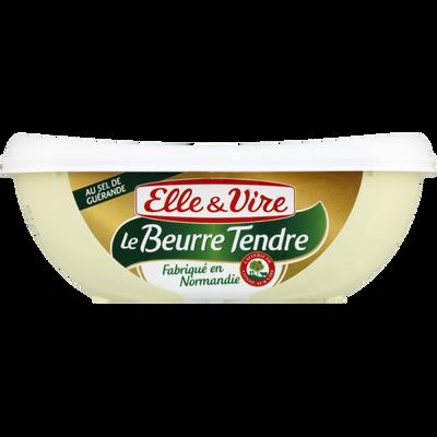 Beurre tendre normand demi-sel ELLE & VIRE, 80% de MG, barquette de 250g