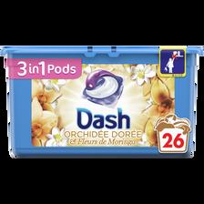 Lessive pods 3en1 Orchidée dorée et fleurs de moringa DASH, 26 doses