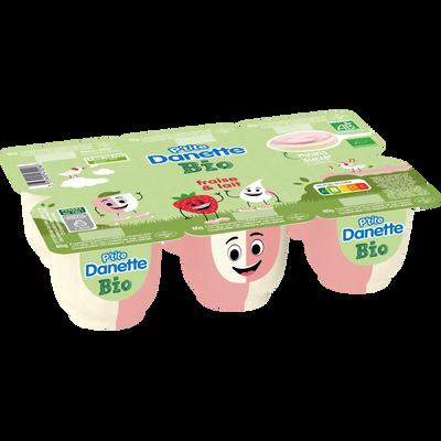 Dessert lacté bio à la fraise/lait p'tite DANETTE 6x65g 390g
