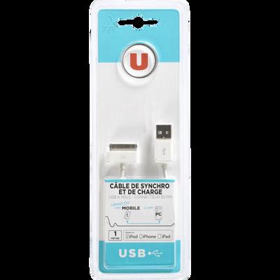 Câble synchronisé U USB/Iphone 30P, 1m, noir, connecteur 1 USB 2.0 A mâle gris, connecteur 2 dock 30 broches gris