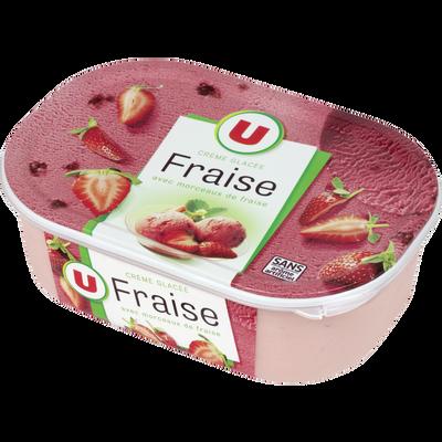 Glace fraise avec morceaux de fraises, U, 500g