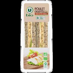 Sandwich a pain de mie complet garni de poulet rôti traité en salaisonet de crudités, U BIO, 145g