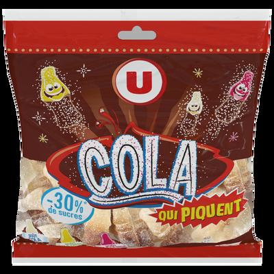 Assortiment cola qui piquent 30% de sucres en moins U, sachet de 175g