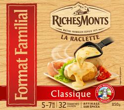 Plateau pour raclette au lait de montagne pasteurisé classique RICHESMONTS, 26%mg, x34 soit 850g