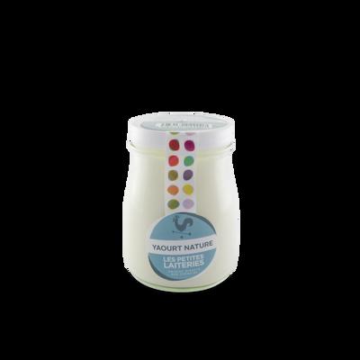 Yaourt nature, Mes Petites Laiteries, au laitr entier pasteurisé, 3,4%Mat.Gr, pot en verre 180g