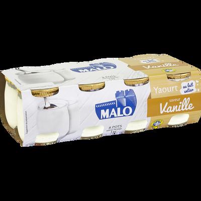 Yaourt vanille au lait entier MALO, 8 pots en verre de 125g