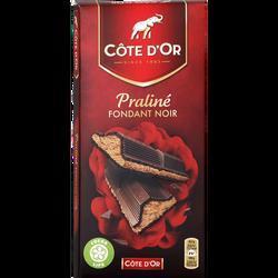 Chocolat noir fourré au praliné noisettes COTE D'OR, tablette de 200g