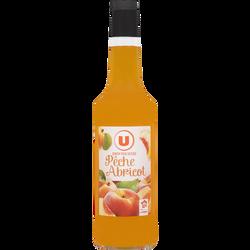 Sirop de recette gourmande pêche/abricot U, bouteille de 70cl