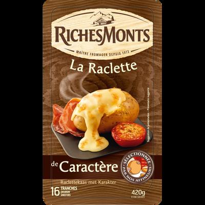 Raclette de caractère au lait pasteurisé de montagne RICHES MONTS, 29% de MG, 420g