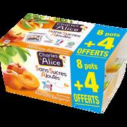 Charles & Alice Desserts Aux Fruits Pomme Et Abricot Sans Sucre Ajouté Charles & Alice, 8x100g + 4 Offerts