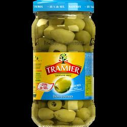 Olives vertes dénoyautées 25% de sel TRAMIER, bocal de 37cl 160g