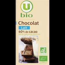 Tablette de chocolat au lait U BIO, 100g