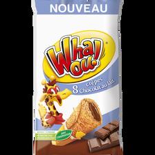 Crêpes fourrées chocolat au lait WHAOU, 8 unités soit 256g