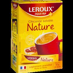 Chicorée nature soluble LEROUX, boîte de 20 sticks de 50g