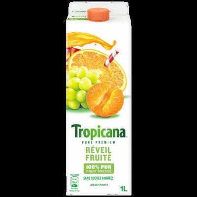 Pur jus réfrigéré orange mandarine raisin Réveil fruité TROPICANA, brique de 1 litre