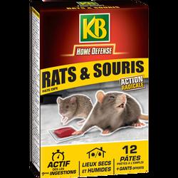 Rat souris KB, étui de 12 pâtes de 10gr, prêtes à l'emploi, pour lutter contre les rats/souris, gants offerts