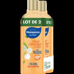 Douche hydratant parfum fleur d'oranger MONSAVON, 2 flacons de 300 ml