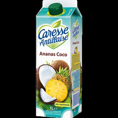 Nectar pasteurisé ananas et coco CARESSE ANTILLAISE, brique de 1l
