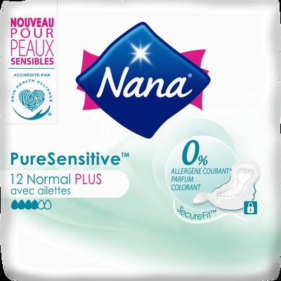 Serviettes pure sensitive normal+ avec ailettes 0% allergène NANA, x12