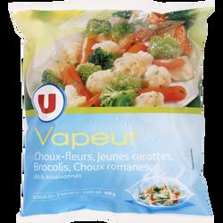 Légumes Vapeur chou fleur, chou romanesco, brocolis et carottes U, 600g