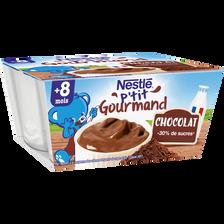 Dessert infantile chocolat P'tit Gourmand NESTLE, dès 8 mois, 4x100g