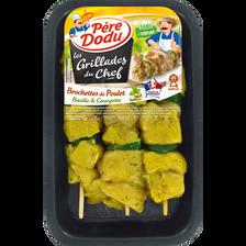 Brochette de poulet basilic/courgette, PERE DODU, 3 pièces, barquette,360g