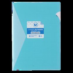 Grand cahier piqure U, petits carreaux, 21x29,7cm, 96 pages, bleu