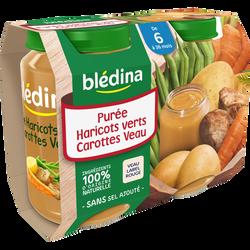 Petits pots pour bébé haricots verts et veau fermier BLEDINA, dès 6 mois, 2x200g