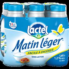 Lait UHT à teneur réduite en lactose 1,2%mg, MATIN LEGER bouteille 6x50cl