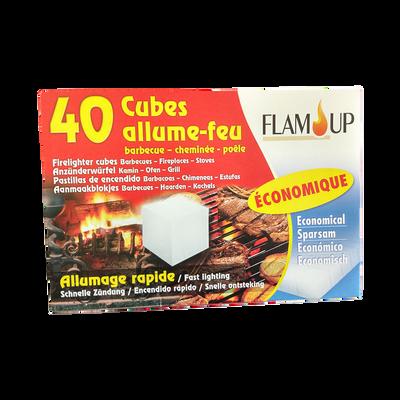 Cubes allume tous feux économique FLAM'UP, boîte de 40 unités