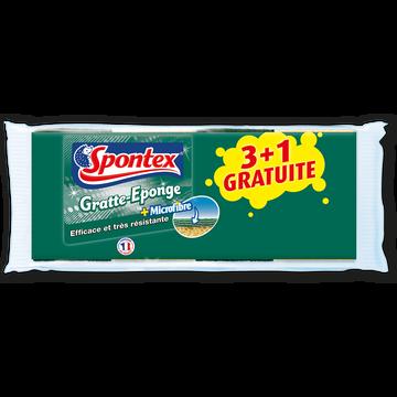 Spontex Grattes Éponge + Microfibre Spontex, X3 + 1 Offert