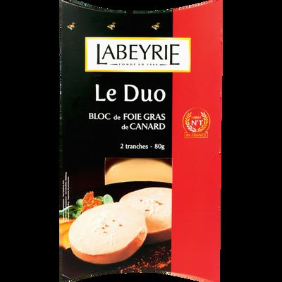 Bloc foie gras canard LABEYRIE, duo 2 tranches de 80g