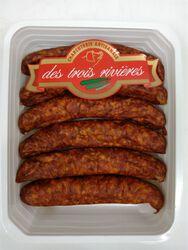 Saucisses fumées de porc, 3 RIVIERES, Origine France, 4 pièces, Barquette,
