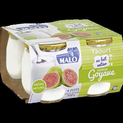 Yaourt au lait entier saveur goyave MALO, pot en verre 4x125g