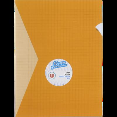 Grand cahier piqure U, grands carreaux, 24x32cm, 48 pages, jaune