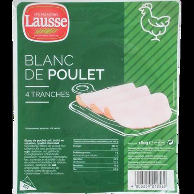 Blanc de poulet qualité standard, 4 tranches, 180g