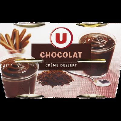 Crème dessert saveur chocolat U, 4 boîtes de 120g