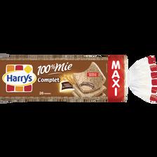 Pain de mie 100% mie farine complète, HARRY'S, maxi format, 650g