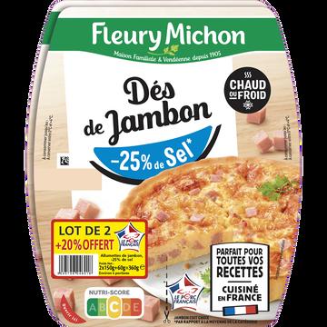 Fleury Michon Dés De Jambon -25% De Sel F.michon (2x75g+20% Offert)x2 360g