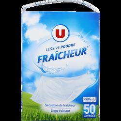 Lessive poudre parfum fraîcheur U, 50 lavages soit 2,750kg