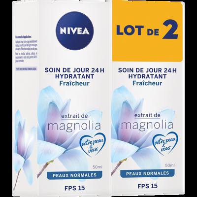 Soin de jour hydratant fraîcheur pour le visage SPF15 pour peaux normales NIVEA, 2 tubes de 50ml