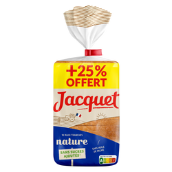 Pain mie maxi tranches nature JACQUET, 50g+25% offert