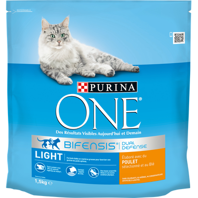Croquettes pour chat adulte Light au poulet et blé Purina ONE, 1,5kg