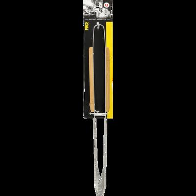 Pince U, en inox, manche en bambou, 40cm