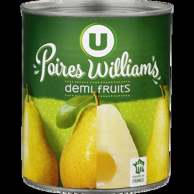 Poires demi-fruits au sirop léger U, boîte de 4/4, 460g