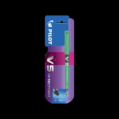 Stylo roller V5 PILOT, encre liquide à niveau visible, pointe hi-tec,écriture moyenne, sèche rapidement, vert