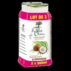 Crème de douche extra douce à l'extrait naturel de noix de coco LE PETIT OLIVIER, 2 flacons de 500ml
