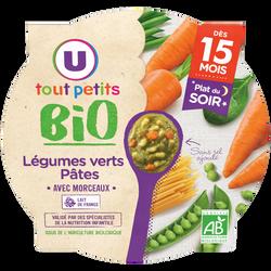 Assiette de soir aux légumes verts et pâtes bio U TOUT PETITS dès 15 mois, 250g