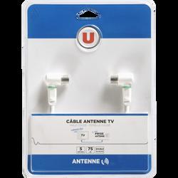 Câble antenne U coudé M/F, 5m, connecteur 1 9,52mm mâle blanc coudé, connecteur 2 9,52mm femelle blanc coudé, inclus adaptateur 9,52mm mâle/mâle