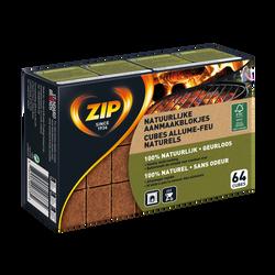 Allume feu naturel ZIP, boîte de 64 cubes